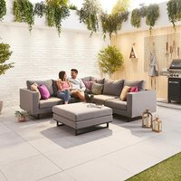 Product photograph showing Eden Outdoor Fabric Corner Sofa Set With Footstool
