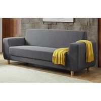 Product photograph showing Fida Fabric 3 Seater Sofa Dark Grey