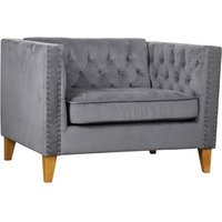 Product photograph showing Florence Snuggle Chair Grey Velvet