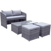 Product photograph showing Gemma Compact Sofa Set With Lift Table 2 Ottomans