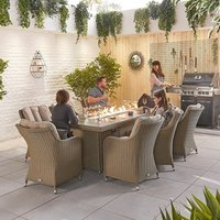Product photograph showing Heritage Camilla 8 Seat Dining Set With Fire Pit - 2m X 1m Rectangular Table