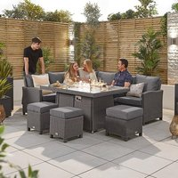 Heritage Ciara Corner Dining Set with Fire Pit Table - Left Hand - Slate Grey