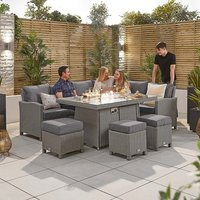 Product photograph showing Heritage Ciara Corner Dining Set With Fire Pit Table - Right Hand