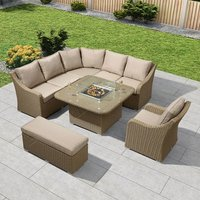 Product photograph showing Heritage Harper Deluxe Corner Dining Set With Fire Pit Table