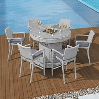 Product photograph showing Henley 6 Seat Round Bar Set With Fire Pit