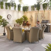 Heritage Thalia 8 Seat Dining Set with Fire Pit - 1.8m Round Table - Willow