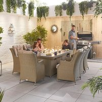 Product photograph showing Thalia 8 Seat Dining Set With Fire Pit - 2m X 1m Rectangular Table