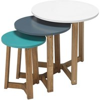 Product photograph showing Jasper Nest Of Tables Solid Oak-funky Coloured Tops