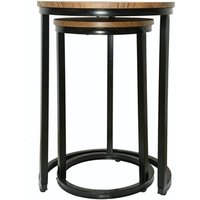 Product photograph showing Java Nest Tables Black Frame-distressed Tops