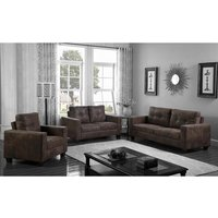 Product photograph showing Lena Antique Fabric 3 Seater Brown