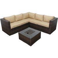 Product photograph showing Malta Corner Sofa Set With Ice Bucket Coffee Table