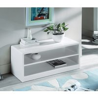 Product photograph showing Manhattan High Gloss White Compact Tv Unit