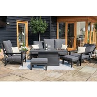 Product photograph showing Manhattan Reclining 3 Seat Sofa Set With Rising Table And Footstools