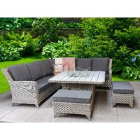Product photograph showing Meghan Corner Dining Set With Firepit Table