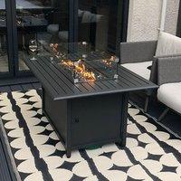 Product photograph showing Mercury Aluminium Fire Pit Table - Rectangular