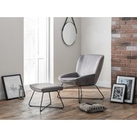 Product photograph showing Mila Velvet Accent Chair With Stool