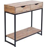 Mirelle Console Table Solid Oak Black Metal Frame