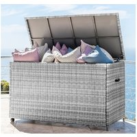 Product photograph showing Heritage Large Rattan Storage Box With Cover