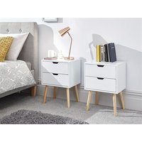 Product photograph showing Nyborg 2 Drawer Bedside Pair