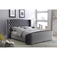 Product photograph showing Oregon Velvet Bed Silver
