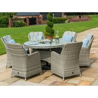 Product photograph showing Oxford 6 Seat Round Ice Bucket Dining Set With Venice Chairs And Lazy Susan