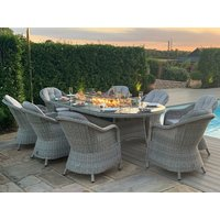 Product photograph showing Oxford 8 Seat Oval Fire Pit Dining Set With Heritage Chairs