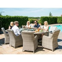 Product photograph showing Oxford 8 Seat Oval Fire Pit Dining Set With Venice Chairs