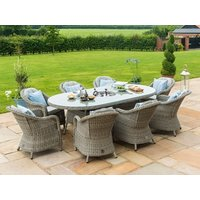 Product photograph showing Oxford 8 Seat Oval Ice Bucket Dining Set With Heritage Chairs And Lazy Susan