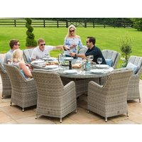 Product photograph showing Oxford 8 Seat Oval Ice Bucket Dining Set With Venice Chairs And Lazy Susan