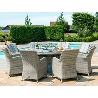 Product photograph showing Oxford 8 Seat Round Fire Pit Dining Set With Venice Chairs And Lazy Susan