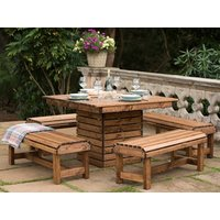 Product photograph showing Rspb Sustainably Sourced Wooden Garden Dining Set Square Table 4 Benches