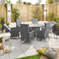 Product photograph showing Ruxley 6 Seat Dining Set With Fire Pit - 1 8m X 1 2m Oval Table