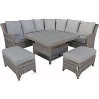 Sarah Corner Dining Set with Lift Table - 8mm Half Round Grey Weave