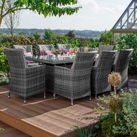 Product photograph showing Sienna 8 Seat Dining Set With Fire Pit - 2m X 1m Rectangular Table