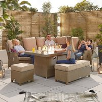 Product photograph showing Skylar 2b Modular Reclining Corner Dining Set With Firepit Table