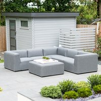 Product photograph showing Toft Outdoor Fabric Corner Sofa Set With Footstool