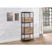 Product photograph showing Urban 3 Drawer Shelving Unit Rustic