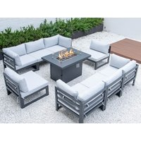 Product photograph showing Verona Large Modular Set With Firepit Dining Table