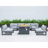 Product photograph showing Verona Modular Set With Firepit Dining Table