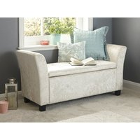 Product photograph showing Verona Window Seat In Oyster Crushed Velvet