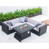 Product photograph showing Vienna Small Corner Dining Set With Firepit Table