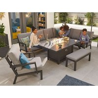 Product photograph showing Vogue Corner Dining Set With Firepit Table Lounge Chair Bench