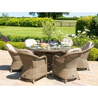 Product photograph showing Winchester 6 Seat Round Fire Pit Dining Set With Heritage Chairs And Lazy Susan