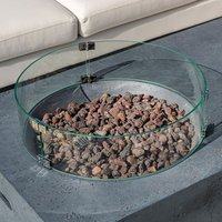 Product photograph showing Round Glass Protective Wind Guard For Mackay Or Cairns Fire Pit