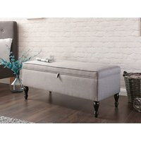 Product photograph showing Windsor Cushioned Ottoman In Grey