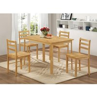 Heartlands Furniture York Medium Dining Set with 4 Chairs Natural Oak
