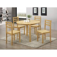 Heartlands Furniture York Round Dining Set with 4 Chairs Natural Oak