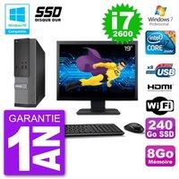 Dell Pc 3010 Sff Ecran 19 Intel i7-2600 Ram 8Go Ssd 240Go Graveur Dvd Wifi W7