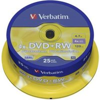 1x25 DVD+RW 47GB 4x Speed Mat zilver