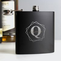 Personalised Geometric Initial Black Hip Flask - Menkind Gifts